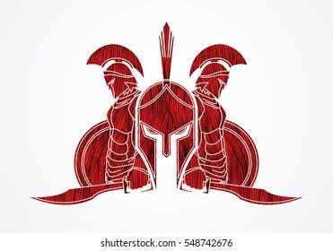 Spartan warrior pose designed using red grunge brush graphic vector.