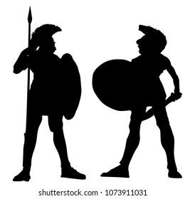 Spartan warrior silhouettes on white background, vector illustration