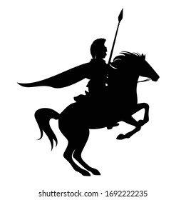 spartan warrior with spear riding rearing up horse - hero soldier horseman black vector silhouette