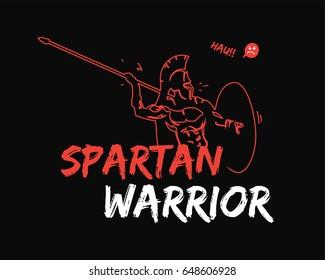 Spartan warrior stylized illustration. Warrior throwing javelin.
