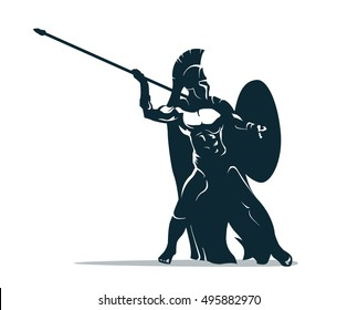 Spartan warrior stylized illustration. Warrior throws javelin.