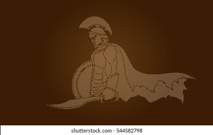 Spartan warrior with sword and shield designed using dot pixels graphic vector.