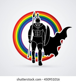 Spartan warrior walking with a spear designed on line rainbow background graphic vector.
