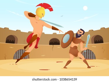 Spartan warriors fighting in gladiators arena. Vector gladiator with shield and roman man on arena illustration