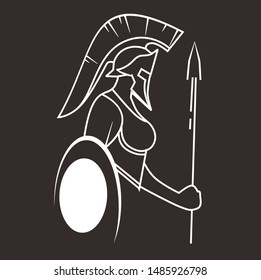 spartan women line art silhouette design