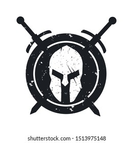 Spartans, grunge logo, emblem with helmet, crossed swords and spears, vector illustration, eps10, easy to edit - Vector illustration.