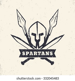 Spartans, grunge logo, emblem with helmet, crossed swords and spears, vector illustration, eps10, easy to edit