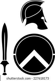 spartans helmet, sword and shield. stencil. vector illustration