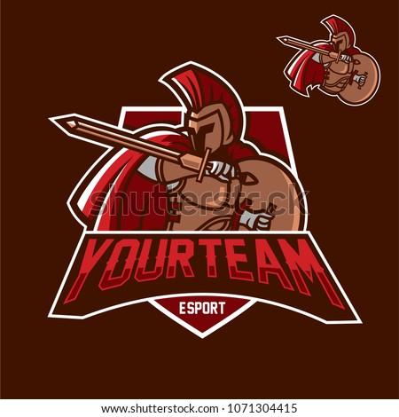 spartaspartan esport gaming mascot logo template stock vector