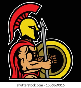 sparta/spartan warrior muscular holding spear and shield esport gaming mascot logo template