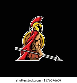 sparta/spartan warrior muscular holding spear esport gaming mascot logo template