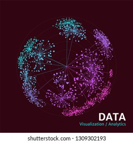 Spatial data complexity representation. Big data sphere concept visualization. Analytics abstract concept. Graphic background.