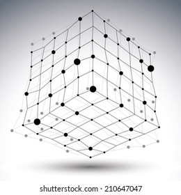 Spatial vector black and white digital eps8 object, contrast dimensional technology wireframe element isolated on white background.