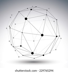 Spatial vector contrast digital eps8 object, geometric dimensional technology wireframe element.