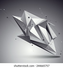 Spatial vector monochrome digital eps8 backdrop, dimensional technology element with wireframe over contrast background.