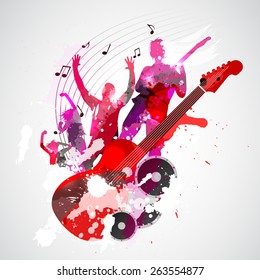 Spatter music background with guitar and concert silhouette - vector