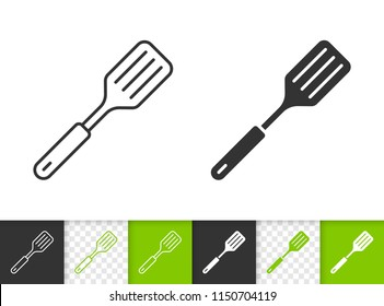 Spatula black linear and silhouette icons. Thin line sign of frying. Cooking ware outline pictogram isolated on white, color, transparent. Kitchen ware vector icon shape. Spatula simple symbol closeup