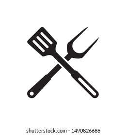 Spatula and fork icon vector. Simple design on white background.