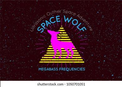 Spave wolf dream trip, digital fluo party hallucination