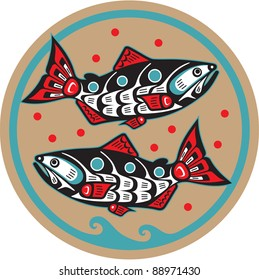 Spawning Salmon - Native American Style Fish Vector