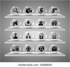 Speach web icons ,Website Icons set ,internet Transparent Glass Button