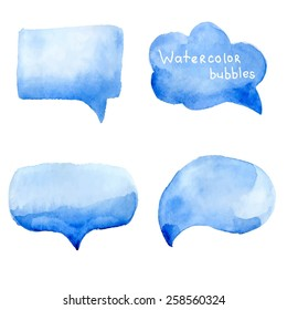 Speak bubbles watercolor icons set vector