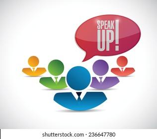 speak up diversity team. illustration design over a white background