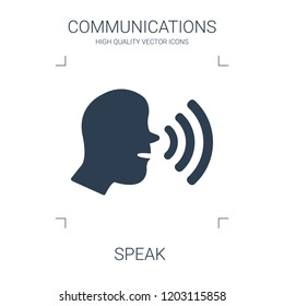 speak icon. high quality filled speak icon on white background. from communications collection flat trendy vector speak symbol. use for web and mobile