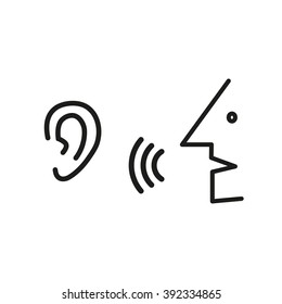 Speak and listen symbol.  listener; rumor, icon vector