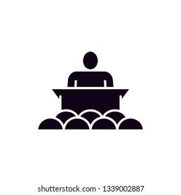 speak people audiance black flat icon