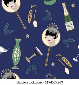 Speakeasy Art Deco vector pattern -Gatsby Party. Flapper in hand mirror, cocktails, champagne, perfume, stars. Dark blue violet with gold, vintage geens. Party invitations, textiles, home decor.