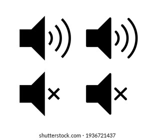Speaker audio icon set. Volume voice control on off mute symbol. Flat application interface sound sign button. Vector illustration image. Isolated on white background.