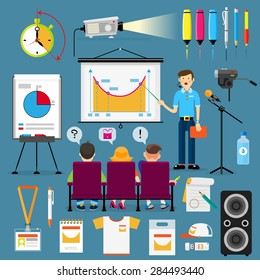 speaker before an audience. vector set of presentations, seminars, lectures, presentations or conferences. flat cartoon style
