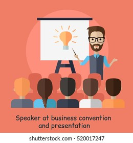 Speaker at business convention and presentation. Motivational management. Man talks about new direction in company strategy. Part of series of developing successful leadership in team working. Vector