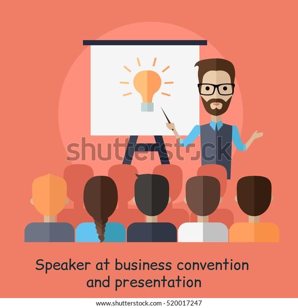 Vetor Stock De Palestrante Na Convenção De Negócios E Livre