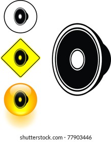 speaker driver symbol sign and button