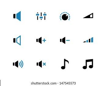 Speaker duotone icons. Volume control. Vector illustration.