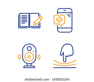 Speaker, Feedback and Medical phone icons simple set. Elastic sign. Music sound, Book with pencil, Mobile medicine. Resilience. Science set. Linear speaker icon. Colorful design set. Vector