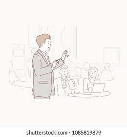 A speaker in front of an audience. hand drawn style vector doodle design illustrations.