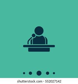 Speaker icon. Orator speaking from tribune illustration.
