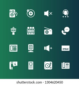 speaker icon set. Collection of 16 filled speaker icons included Phone receiver, DJ, Mobile, Phone call, Subtitles, Volume, Announcer, Telephone, Call, Radio, Demonstration, Headphones