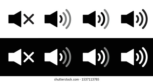 Speaker icon set. Flat sound speaker music icon symbol set black and white. Megaphone icon set. Realistic speaker or sound notification. Mute, low, medium, and high or maximum volume.