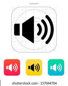 Speaker icon. Volume max. Vector illustration.