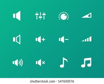 Speaker icons on green background. Volume control. Vector illustration.