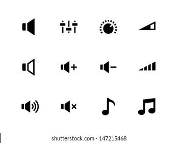 Speaker icons on white background. Volume control. Vector illustration.