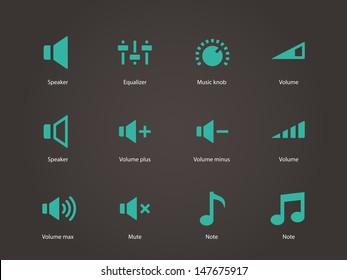 Speaker icons. Volume control. Vector illustration.