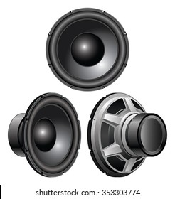 Speaker is an illustration of a speaker from a front view, three-quarter view and rear three-quarter view.