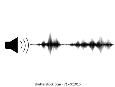 Speaker logo and sound wave vector in black and white background