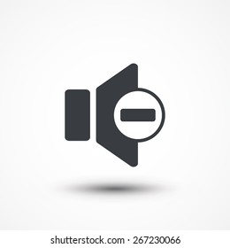 Speaker low volume sign icon. Flat design style. Vector illustration.