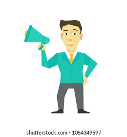 Speaker man with horn, megaphone. loudspeaker person speakerphone manager leader message. Business man politician. Flat color vector illustration.